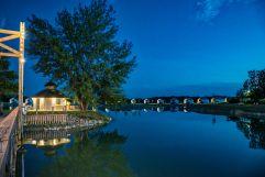 Abendstimmung mit Blick auf die Seeresidenzen (VILA VITA Pannonia Pamhagen)