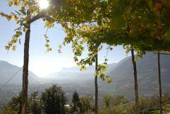 Ausblick über Dorf Tirol bei Meran (Hotel Ansitz Golserhof)