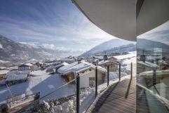 Ausblick von der Panorama-Wellnessoase im Winter (Hotel Waldfriede)