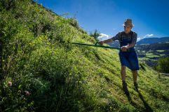 Bauer mäht Steilhang mit Sense in Villanders (Tourismusverein Klausen)