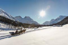 Pärchen bei einer romantischen Pferdeschlittenfahrt (c) Christoph Schoech (Lech Zürs Tourismus)