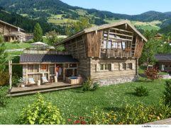Aussenansicht Chalet im Sommer (c) Zuchna Visualisierungen (Chaletdorf Prechtlgut)