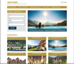 Screenshot von True Venue Webseite von Schenkenfelder Kommunikation im Tourismus