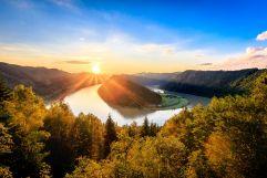 Sonnenuntergang an der Donauschlinge (Riverresort Donauschlinge)
