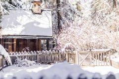 Waldkapelle und Garten im Winter (Hotel Tann)